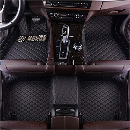 (OkuTech Custom Fit XPE Leather 3D Full Surrounded Waterproof Car Floor Mats for BMW 5 Series 2010-2013, Black with Black Stitching)