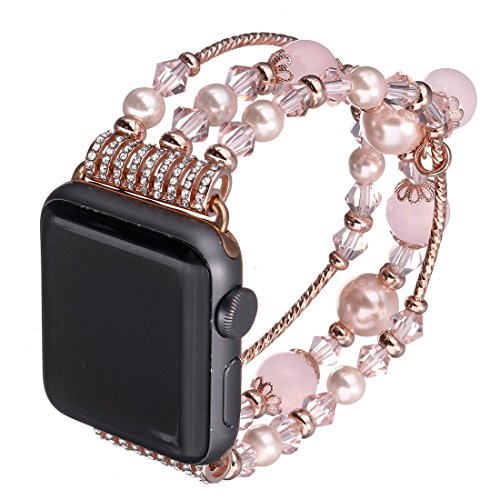 Gets for Apple Watch Band,Fashion Elastic Stretch Faux Pearl Replacement Bracelet Women iWatch Strap (Pink,38mm) (Pink Beaded Watch)