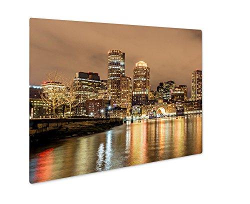 Ashley Giclee Metal Panel Print, Boston Down Town Sky Line At Night, Wall Art Decor, Floating Frame, Ready to Hang 16x20, - Boston Town Down