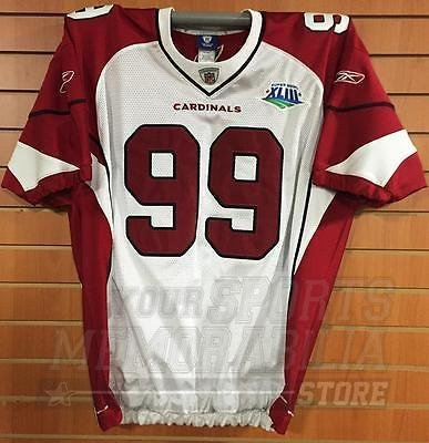 Arizona Cardinals #99 Reebok Game Cut Authentic Super Bowl XLIII Jersey - White