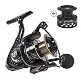 CAPACI Spinning Fishing Reel Powerful Light Weight Ultra Smooth Aluminum Reel Free Spare Graphite Spool Saltwater Freshwater 13+1BB CNC Braid Ready Spool (RT Reel Series, 1000) Review