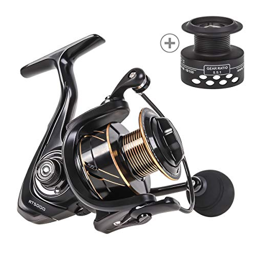 CAPACI Spinning Fishing Reel Powerful Light Weight Ultra Smooth Aluminum Reel Free Spare Graphite Spool Saltwater Freshwater 13+1BB CNC Braid Ready Spool (RT Reel Series, 4000)
