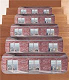 iPrint Non-Slip Carpets Stair Treads,Modern Decor,Red Brick Wall Loft Interior with Windows to City Urban Contemporary Design,Multicolor,(Set of 5) 8.6''x27.5''