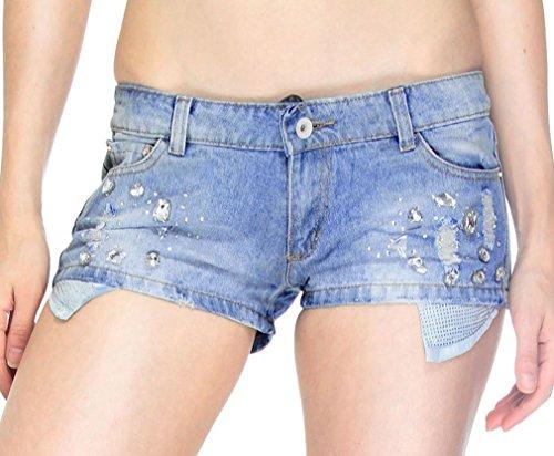 Mini Strass Accenti Di Tasche Con Simplicity Xl Da Jean Shorts Brillanti Donna gnwdz