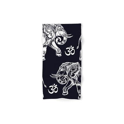 Society6 elefantes patrón sobre negro mano y toalla de baño, multicolor, Set of 4