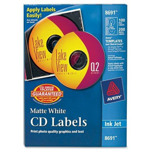 Avery Permanent CD Labels, 8691, White, Pack of 100