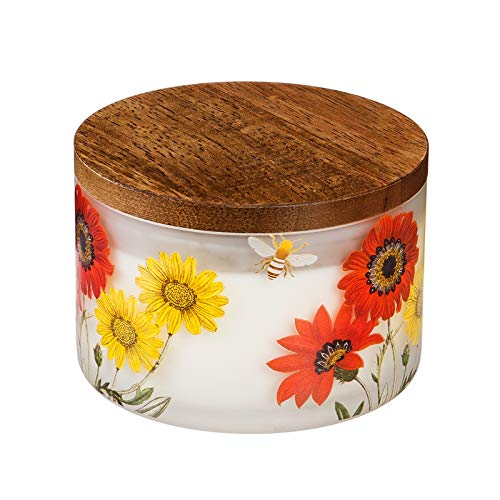 Wooden Burning Bracelets (Evergreen Garden Red Floral Glass Citronella Z-Candle with Wooden Lid)