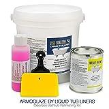 bathtub tile ideas ArmoGlaze Odorless Bathtub Refinishing Kit, Made in USA, Pour-On Application, Mirror Gloss Finish, White