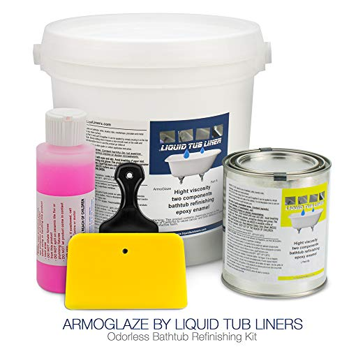 ArmoGlaze Odorless Bathtub Refinishing Kit, Made in USA, Pour-On Application, Mirror Gloss Finish, White
