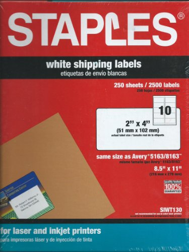 Staples White Inkjet/Laser Shipping Labels 2