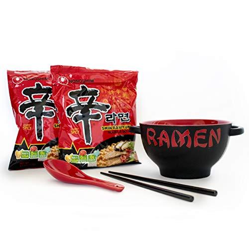 - Ramen Bowl Set With Chopsticks and Spoon + 2 Packs Nongshim Spicy Noodles 4.2 Oz | Soup