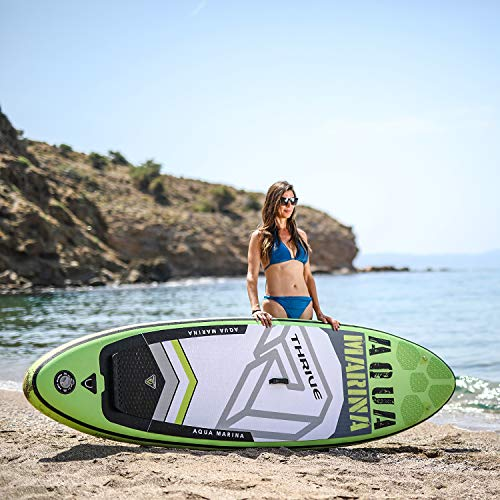 Aqua Marina Thrive Inflatable Stand Up Paddle Board 10 4 6 Thick Includes Double Action Pump, Magic Backpack, Slide-in Center Fin, Sports III Paddle, Safety Leash