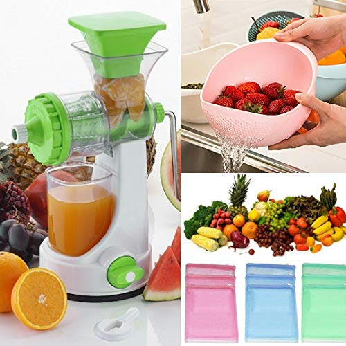 Ketsaal Summer Special Combo(Pack of 3) Fruits & Vegetable Juicer with Steel Handle, Fruits Washing Bowl Strainer & Multipurpose Fruits and Vegetables Storing Mesh Fridge Storage Zip Bags. (B07BJ819F2) Amazon Price History, Amazon Price Tracker