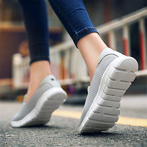 Tissu Glissent De Peu Mocassins Dames Appartements Gris Respirant Occasionnels forme Profond Ronde Chaussures Toe Confortable Les Coton Espadrilles Le Plate Sur Femmes f7Yqxnzxv