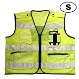 Aolvo Surveyor Vest Safety Vest Reflective Jacket, High Visibility Breathable Mesh Vest Neon Safety Vest Security Safety Vest with Interphone Pockets and Zipper for Men & Women - S M L XL
