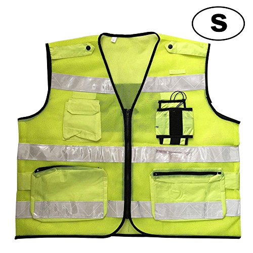 Aolvo Surveyor Vest Safety Vest Reflective Jacket, High Visibility Breathable Mesh Vest Neon Safety Vest Security Safety Vest with Interphone Pockets and Zipper for Men & Women - S M L XL by Aolvo