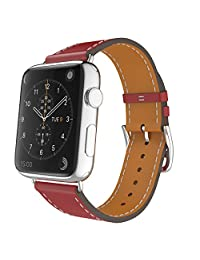 Apple Watch Band, MoKo Luxury Genuine Leather Smart Watch Band Strap Single Tour Replacement for 42mm Apple Watch Models, RED (Not Fit 38mm Version 2015)
