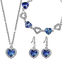 """Pauline & Morgen """"Amour Bleu"""" Parure Bracelet Collier Boucles d'Oreilles pour femme bijoux cristal plaque or blanc-cadeau anniversaire Noel saint valentin fete des meres maman mere cadeaux marriage"""