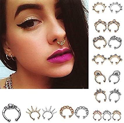 Mcree 20 Pcs 12mm Fake Septum Clicker Nose Ring Non Piercing Hanger Clip Body Jewelry Amazon Co Uk Kitchen Home