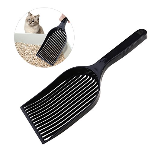 UEETEK Cat Litter Scoop, Large Pet Kitty Dog Litter Box Cleaner Shovel Durable Plastic Sifter Shovel (Black)