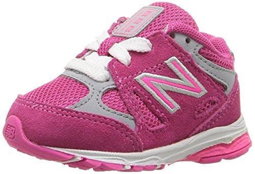 New Balance Girls' KJ888 Running Shoe, Pink/Grey, 3 Medium US Infant