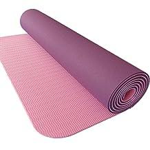 Two-tone TPE 6mm tasteless anti-slip fitness mat Yoga mat outdoors sports mat , purple , 6mm