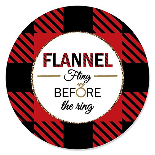 (Flannel Fling Before The Ring - Buffalo Plaid Bachelorette Party Circle Sticker Labels - 24 Count)