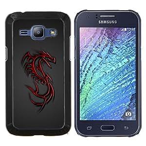 Stuss Case / Funda Carcasa protectora - Tribal rojo del dragón Crest - Samsung Galaxy J1 J100