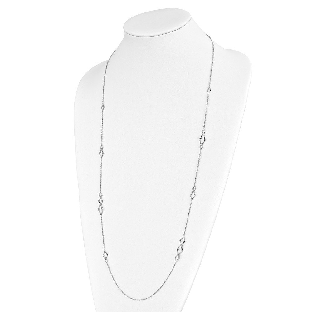 Leslies 925 Sterling Silver Rhodium-plated Necklace; 36 inch
