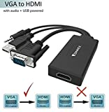 VGA to HDMI Adapter (Old PC to New TV/Monitors) ,FOINNEX VGA to HDMI Converter with with 3.5mm Mini Jack for PC,Laptop with VGA Output to Monitor,TV with a Female HDMI Input.Power Input via USB