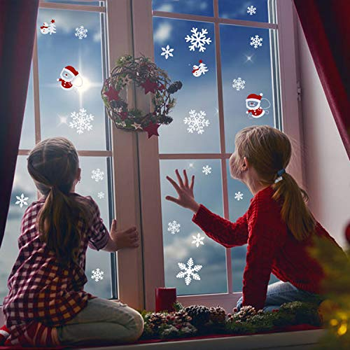 LUTER Snowflakes Sticker Christmas Decorations Window Clings Winter Wonderland Decals Snowman Decor for Kids Home, Coffee House, Restaurant, Dress Shop(102 Pieces)]()