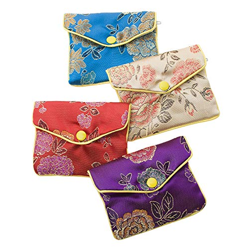 Aspire 24 PCS Brocade Jewelry Pouches, Zipper Purse, Favor Bag, 4 3/4 x 4 Inch-Assorted