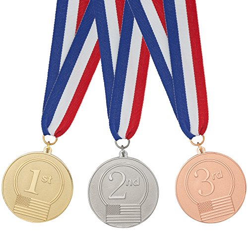 MNGreatGoods 9 Premium Medals- 3 Each 1st (Gold), 2nd (Silver), 3rd (Bronze) Attached to Premium USA Ribbon (Long Service Medal)