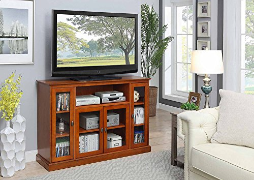 Birch Media Storage Cabinet - Beautiful And Comfortable TV Stand With Solid Pine Wood And MDF Construction, Finished With Birch Veneer, Tempered Glass Cabinets, Storage Space Shelves, Suitable For Living Room Or Den, Cherry Finish