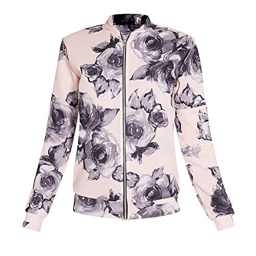 HighPlus Pretty LittleThing Womens Ladies Liana Floral Scuba Bomber Jacket Top by HighPlus