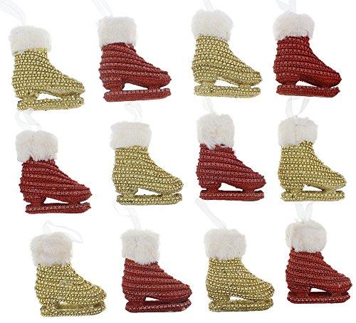Elegant Sparkling Christmas Holiday Rhinestone Jeweled Ice Skates Ornaments with White Fur Trim, Red & Gold, Medium, Set of 12, 4.5
