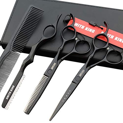 6.0 Inches Professional hair cutting thinning scissors set with razor (Black)