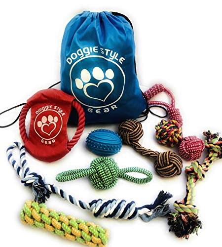 Dog Pet Rope Toys ◘ Tug-Of-War Playtime, 10 pcs Includes Storage Bag