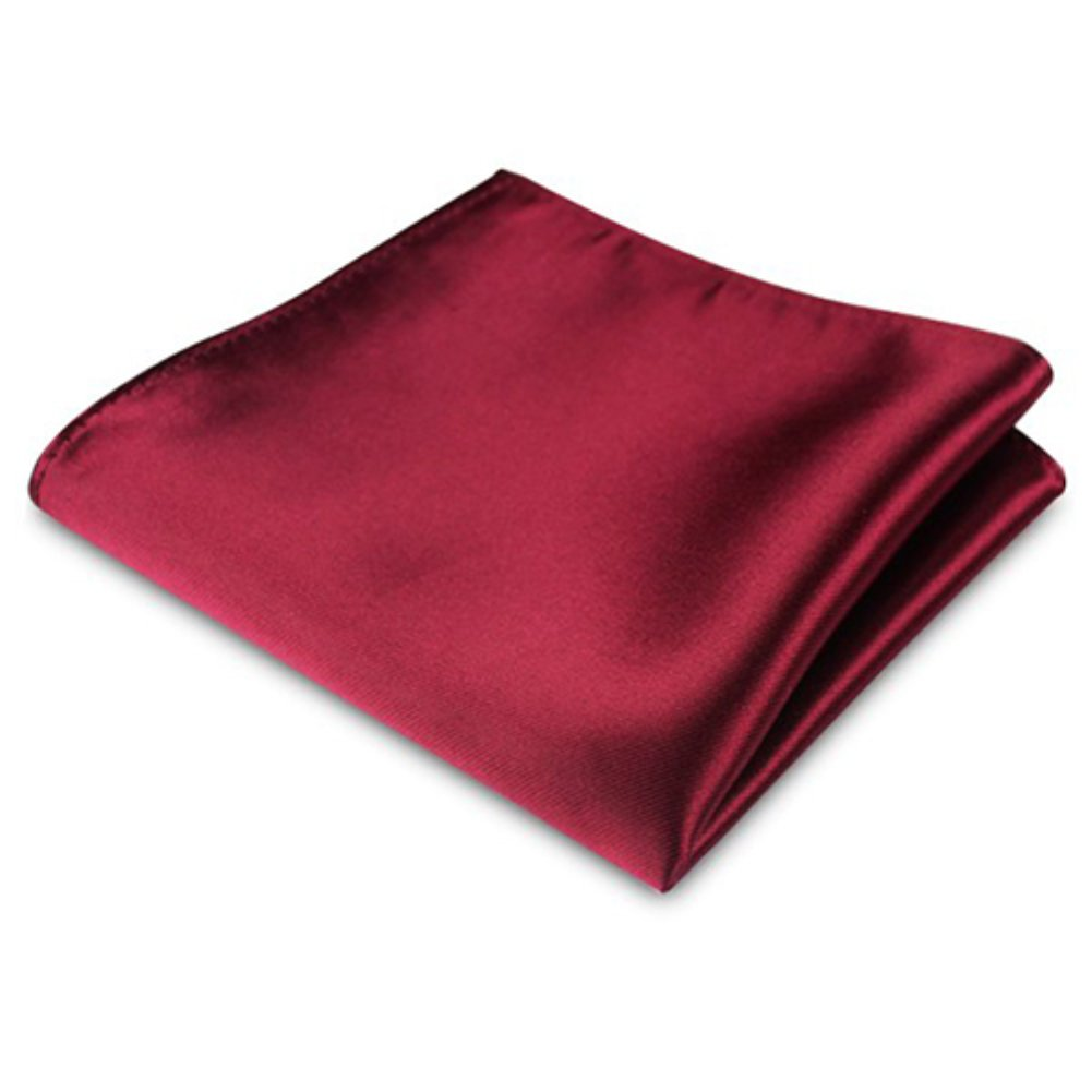 Mosichi Men's Satin Solid Plain Color Handkerchief Hanky Pocket Square for Wedding Party (Wine Red)