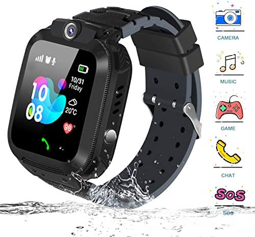 Kids Smart Watch, Bingogous IP67 Waterproof LBS Position Two Way Call Camera Children Phone Smartwatches with SOS Voice Chat Game Watch, 1.44 inch Touch Screen Smartwatch for Boys and Girls Black