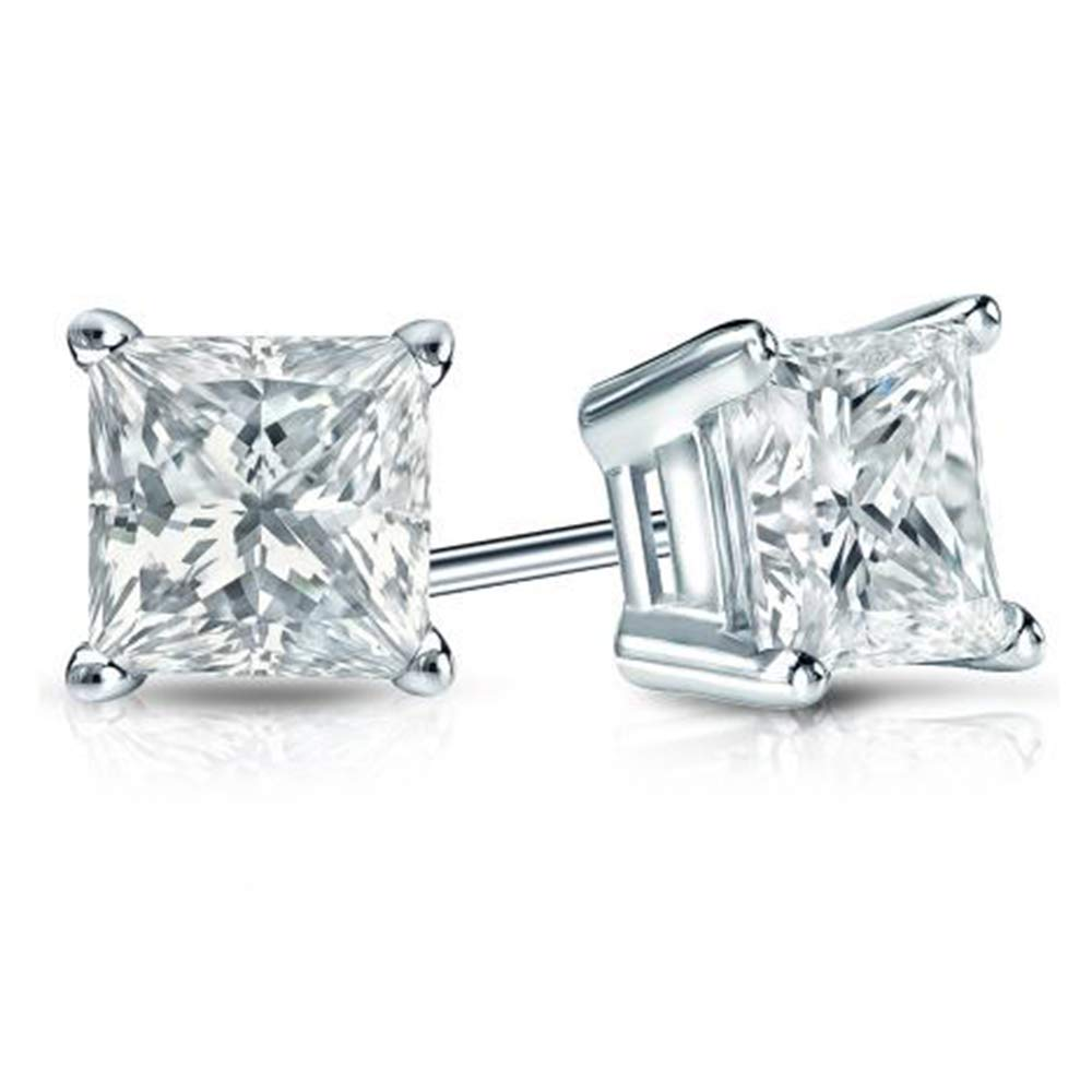 2.00 Ct Princess Cut Simulated Diamond Solitaire Stud Earrings .925 Sterling Silver