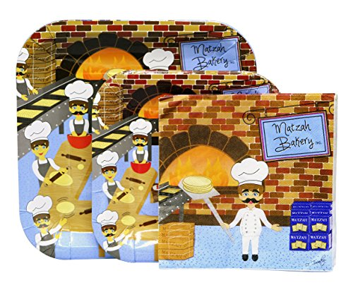 Passover Set of Disposable Paper Plates Set With Napkins (Passover Supplies)
