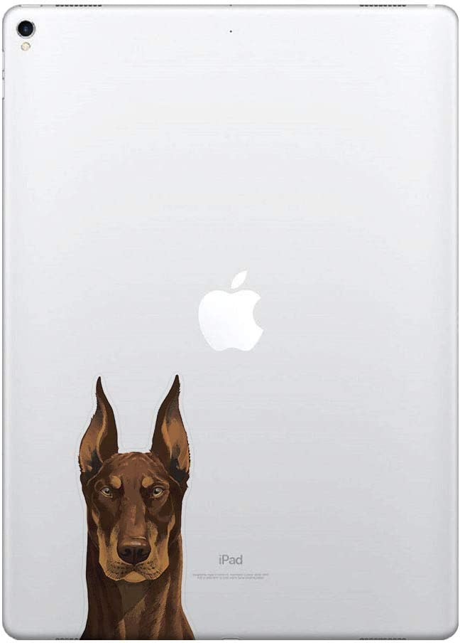 FINCIBO 5 x 5 inch Cute Red Chocolate Doberman Pinscher Dog Removable Vinyl Decal Stickers for iPad MacBook Laptop (Or Any Flat Surface)