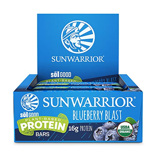 Sunwarrior – Sol Good Protein Bar, Organic, Vegan, Brown Rice, Pea & Quinoa Protein (Blueberry)