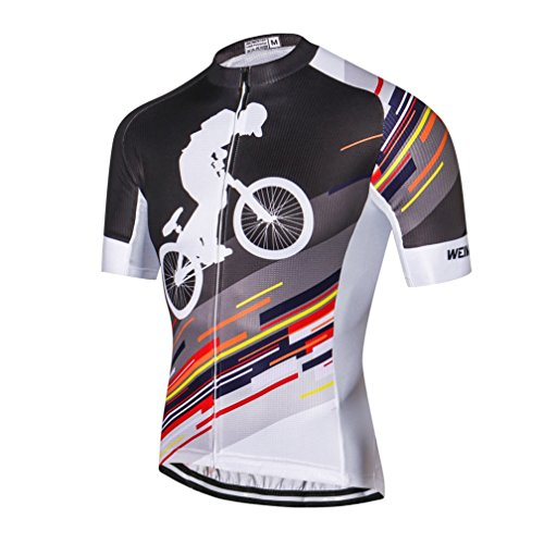 Weimostar Men's Cycling Jersey Men Mountain Bike Jerseys Short Sleeve Tops Lycra Cuff (Black Cycling -