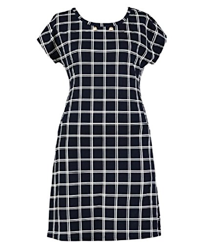 Dress Pocket Mid Women O Fitness Maxi Sleeves and Pattern2 Neck Coolred Short Plaid PWn8AHA