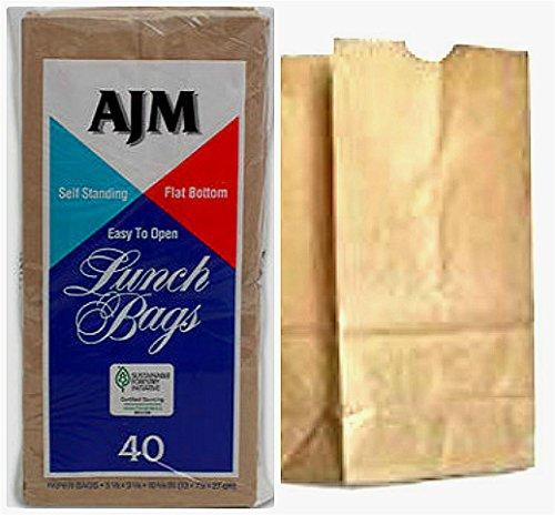 [해외]브라운 페이퍼 런치 백 재활용 가능한 생분해성 / 6 Packs (240 Counts) AJM Brown Paper Lunch Bag Recyclable Biodegradable