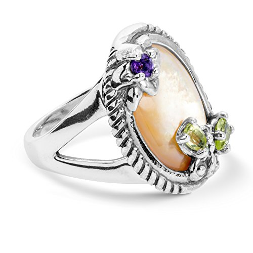 Carolyn Pollack Sterling Silver Gold Mother of Pearl, Purple Amethyst and Green Peridot Gemstone Butterfly Flower Ring Size 07