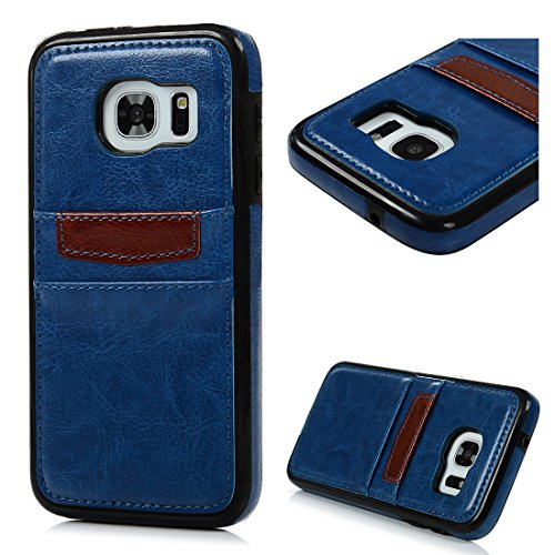 for Galaxy S7 Case with Card Holder ID Card Slot Premium PU Leather Wallet Cover Samsung Galaxy S7 Card Case Shockproof Cover for Samsung Galaxy S7, Deep Blue