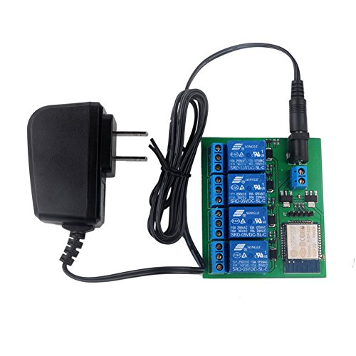 ESP-32S ESP32S 4 Channel Wifi Bluetooth Relay Module 6V 0.6A Adapter US Plug for IOT Switch Garage DIYmall